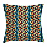 jiajufushi Abstract Triangle Throw Pillow Cushion Cover, Tribal Hippie Folk Tones with Digital Grid Effects Native American Boho, Decorative Square Accent Pillow Case Multicolor
