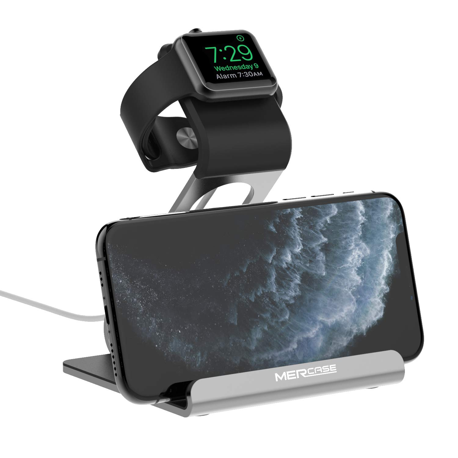 Apple Watch Stand, Mercase Aluminum NightStand iWatch &iPhone Universal Desktop Stand Holder Charging Station for iWatch Series 5/4/3/2/1,iPhone 11/11Pro/11Max/Xs/X Max/XR/X/8/8Plus/7/7Plus-Space Grey by Mercase