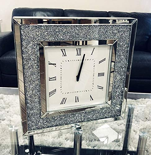 Sassy Home Crush Diamante Crystal Mirrored Square Wall Clock