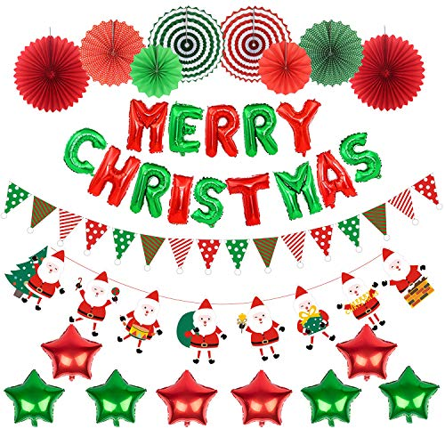 JNK Christmas Decorations Kit Xmas Decor Indoor Home Wall Santa Claus Banner Star Foil Balloon Folding Paper Fans Hanging Christmas Décor for Party Office (Paper Christmas Direct)