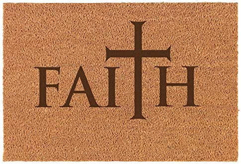 Daylor 30 x 18 Coir Doormat Entry Door Mat Faith Cross