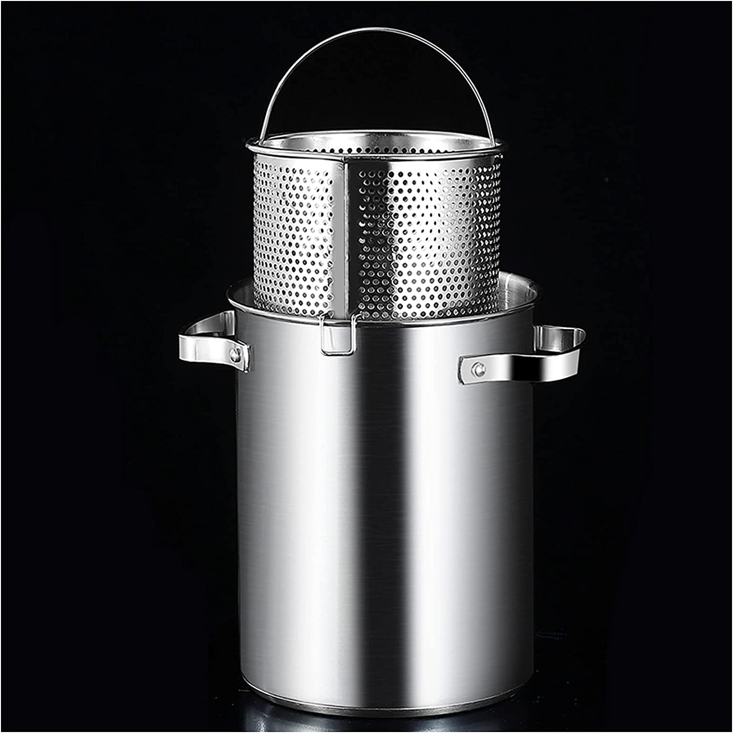 304 Stainless Steel Stock Pot - Turkey Fryer Pot with Boil Basket All Purpose Cooking Pot for Crawfish Lobster Seafood Cooking