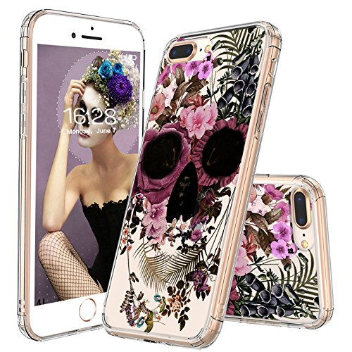 iPhone 7 Plus Case, iPhone 8 Plus Cover, MOSNOVO Floral Skull Flower Pattern Clear Design Printed Plastic Hard Cover with TPU Bumper Protective Case for iPhone 7 Plus (2016) / (Skull Hard Case)
