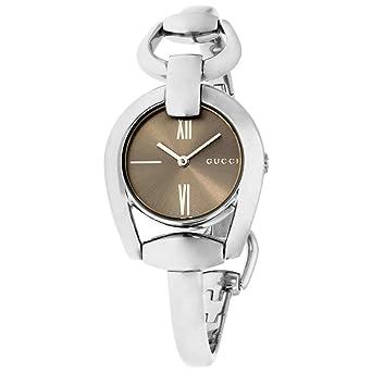 c3127b14b18 Amazon.com  Gucci Horsebit Brown Dial Stainless Steel Ladies Watch YA139501   Watches