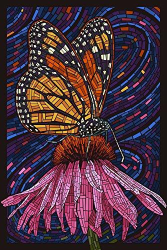 Monarch Butterfly - Paper Mosaic (12x18 Art Print, Wall Decor Travel Poster) (Butterfly Art Wall Mosaic)