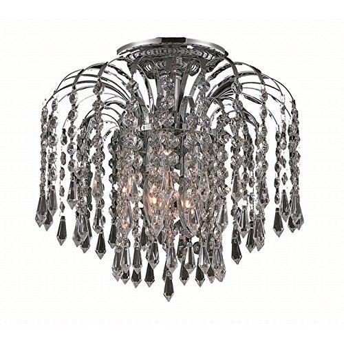 Elegant Lighting Falls Collection 3-Light Flush Mount with Swarovski Spectra Crystals, Chrome Finish