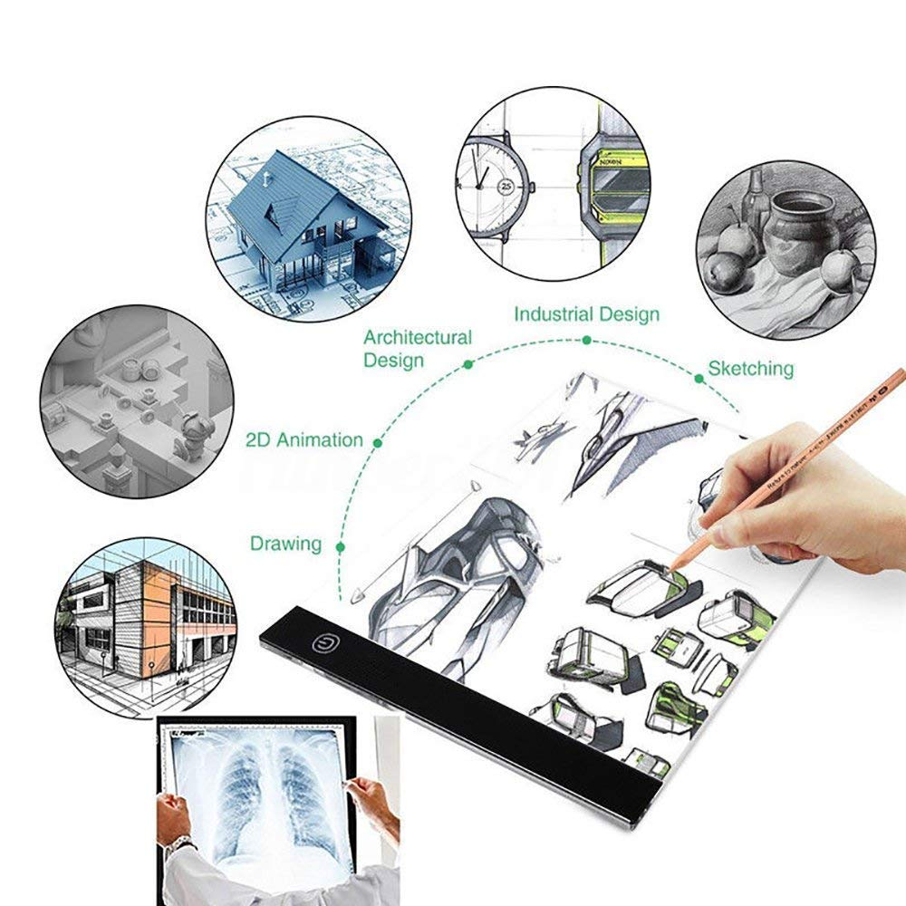 A4 Ultra-Thin Portable LED Light Box Tracer USB Power Cable Dimmable Brightness LED Artcraft Tracing Light Box Light Pad for Artists Drawing Sketching Animation Stencilling X-ray Viewing