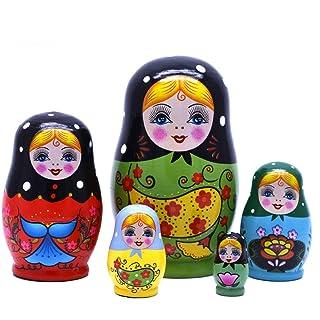 BBYaki Bambola di Nidificazione Principessa Susan, Simpatica Ragazza di Grande Occhio Russo Matrioska, Altissima Gamma Olmo Dipinta a Mano Artificiale, Set di 5