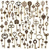 TR.OD Wholesale 70 Pieces Antique Bronze Vintage Skeleton Mixed Key Charms DIY Necklace