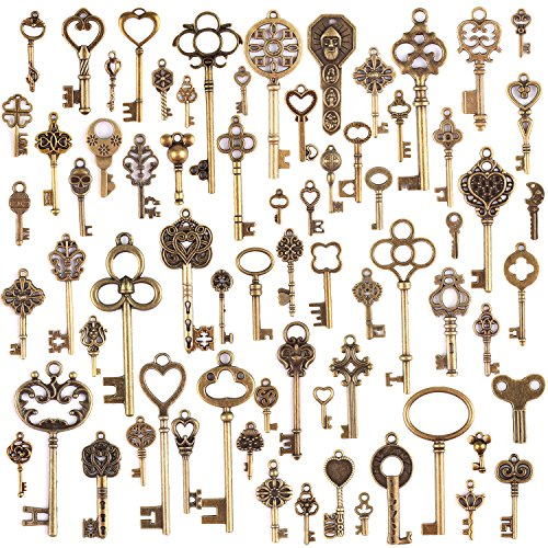 KeyZone Wholesale 70 Pieces Antique Bronze Vintage Skeleton Mixed Key Charms DIY Necklace Pendant for Handmade Jewelry Making