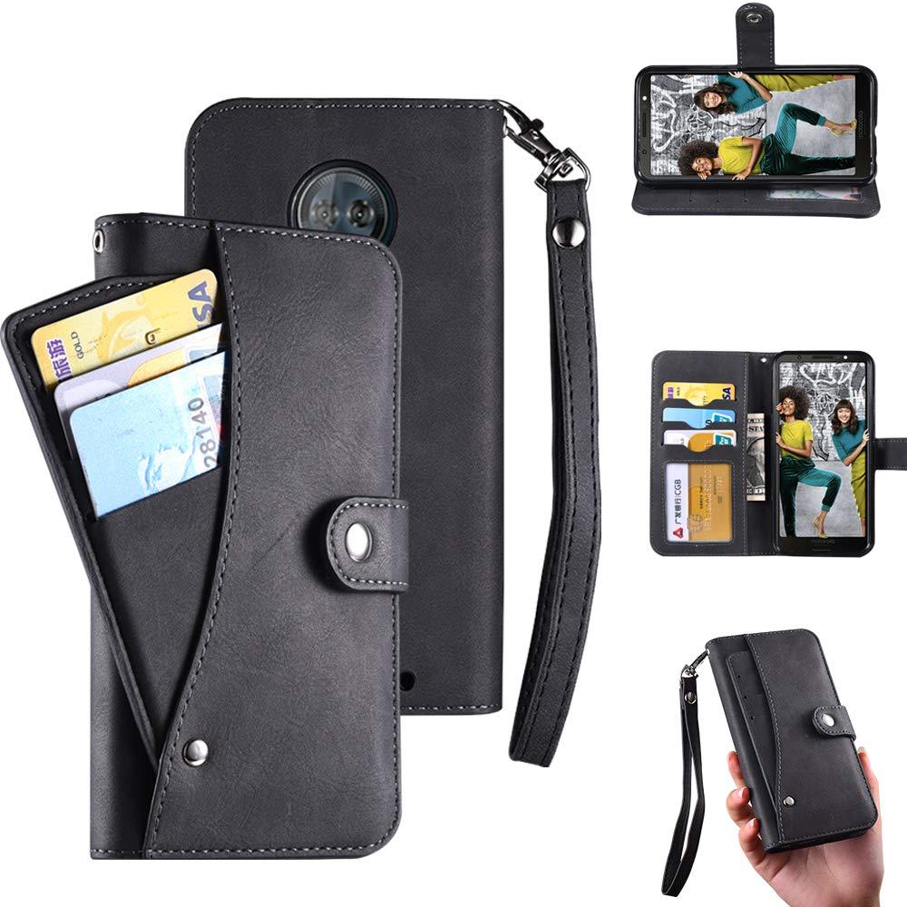 Moto G6 Plus Case,Moto G6 Plus Wallect Case, Flip Leather Case 5 Cards / 1 Photo Slot/Cash Pocket PU Cover with Wrist Strap [Wallet Stand] Phone Case for Moto G6 Plus (Black) by okasis (Image #1)