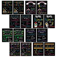 First Day of School & Last Day of School Signs for 8x10 Picture Frame, DIY Back to School Photo Porp Signs for Boys and Girls Chalk Marker Erasable 8 Assortment Designs - 16 Pcs