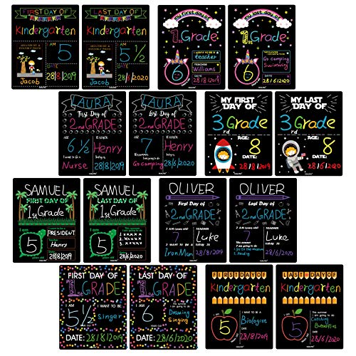(First Day of School & Last Day of School Signs for 8x10 Picture Frame, DIY Back to School Photo Porp Signs for Boys and Girls Chalk Marker Erasable 8 Assortment Designs - 16 Pcs)