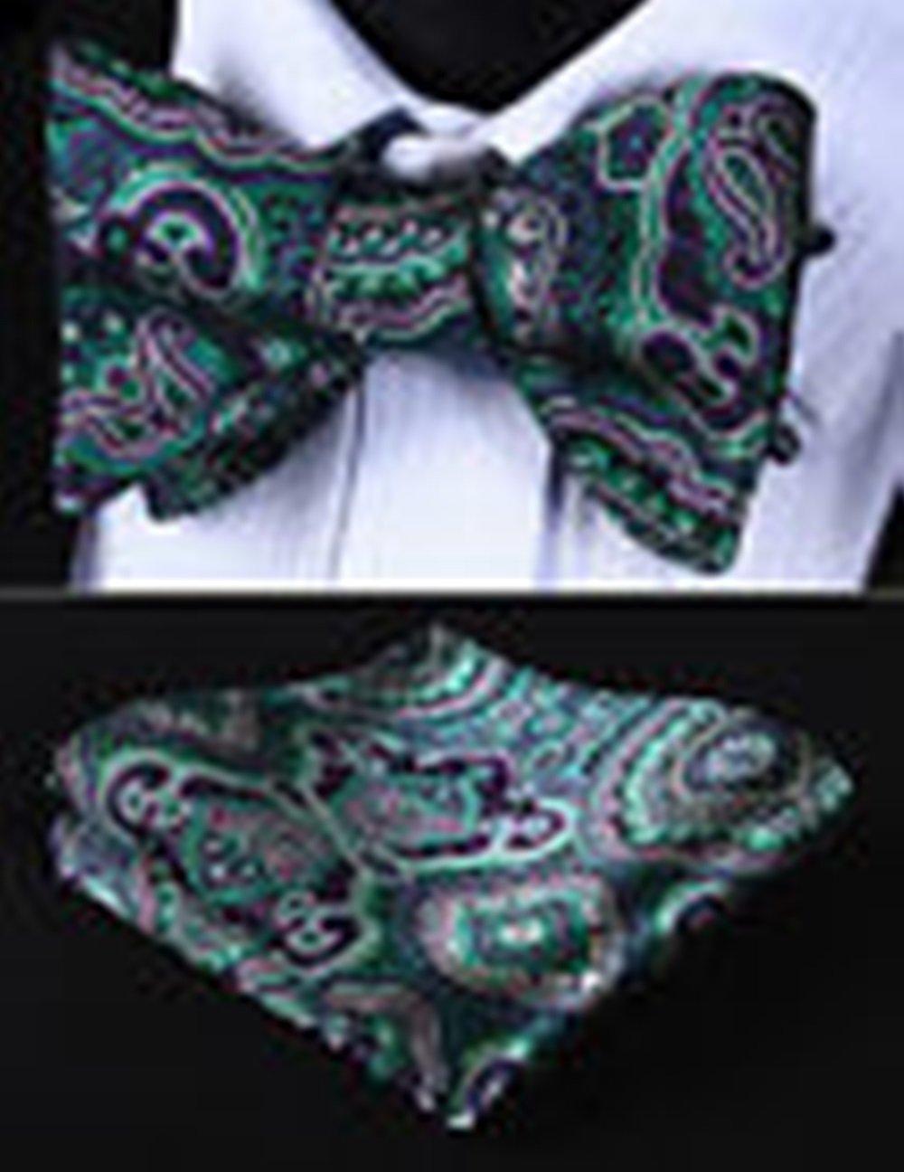 Mondaily DL707P Purple Green Floral Men Cotton Self Bow Tie Pocket Square set #PPTE4694
