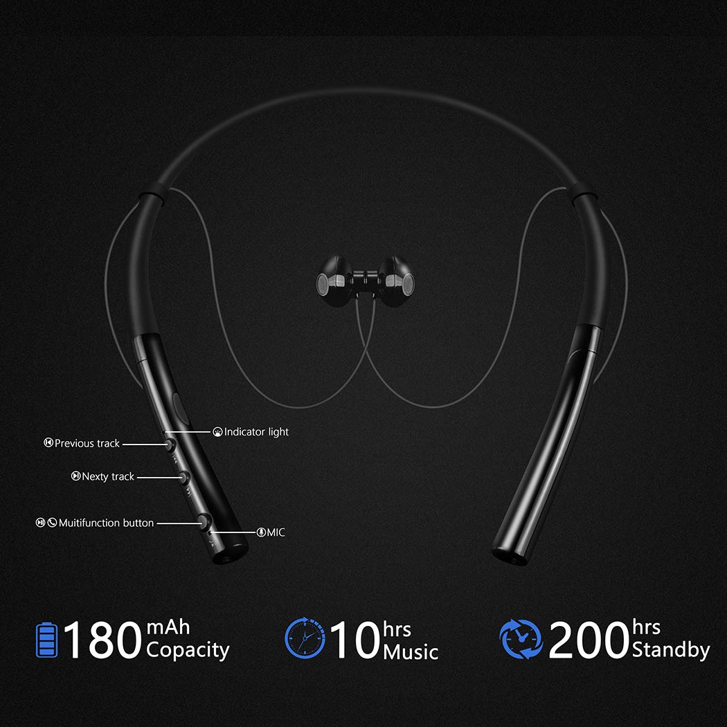 Bluetooth Headphones, HokoAcc Wireless Neckband Headset, IPX7 Sweatproof Sports Noise Cancelling Stereo Magnetic Earphones with Mic (10 Hrs Playtime,Call Vibrate Alert) by HokoAcc (Image #3)
