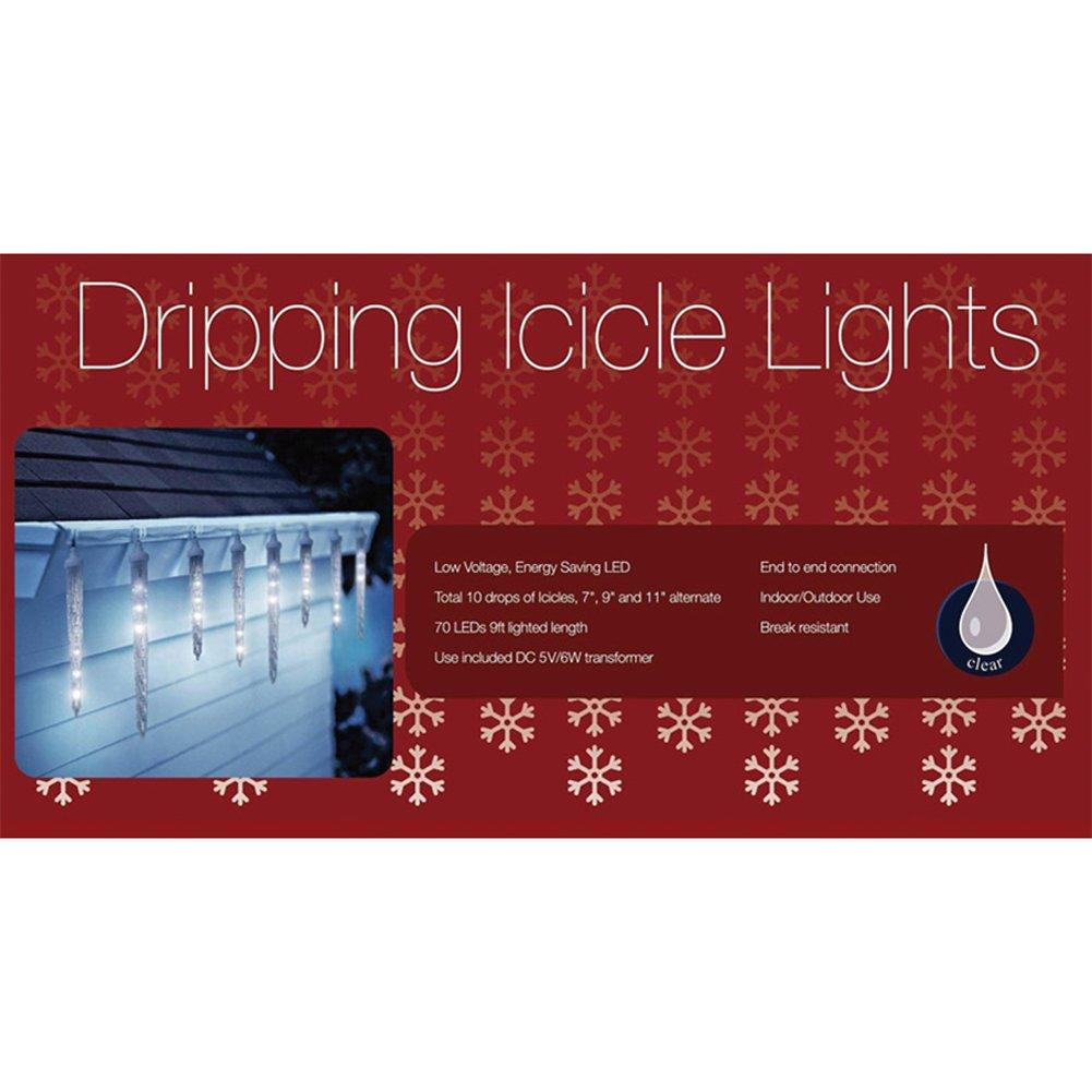 Set of 8 led polar white dripping icicle shape christmas lights set of 8 led polar white dripping icicle shape christmas lights white wire amazon patio lawn garden aloadofball Choice Image