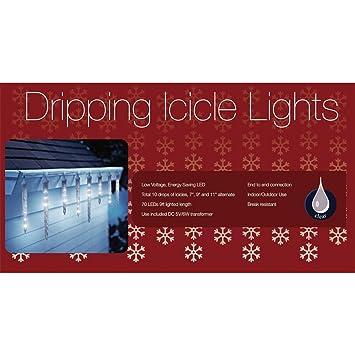 set of 8 led polar white dripping icicle shape christmas lights white wire - Dripping Icicle Christmas Lights