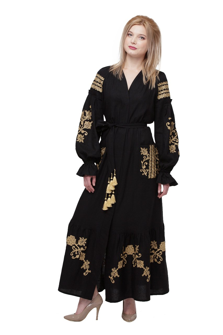 Boho Style Dress Embroidered Long Black Woman Dress.Vyshyvanka Ukrainian (M/L) by Boho Style Dress
