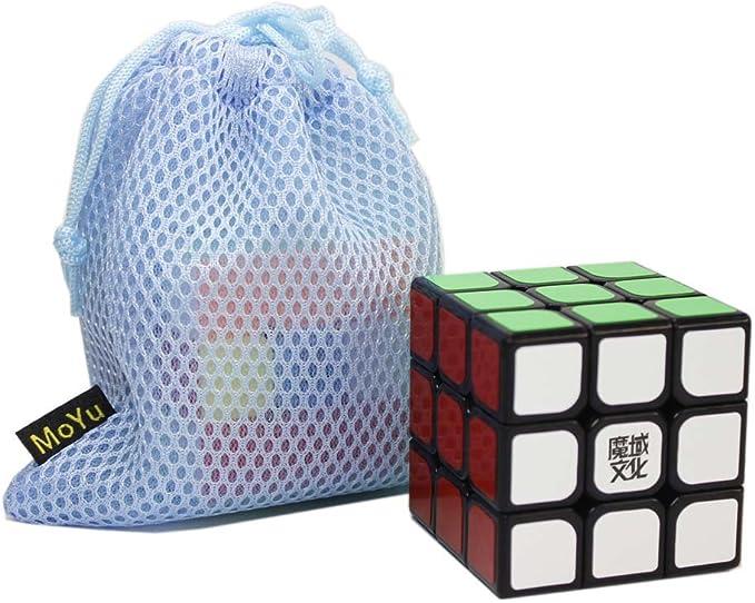 OJIN MoYu WEILONG V2 la versión Mejorada 3x3x3 3 Capas Suave Cubos mágicos Cubo de Velocidad Rompecabezas Juguetes con una Bolsa de Cubo (Negro): Amazon.es: Juguetes y juegos
