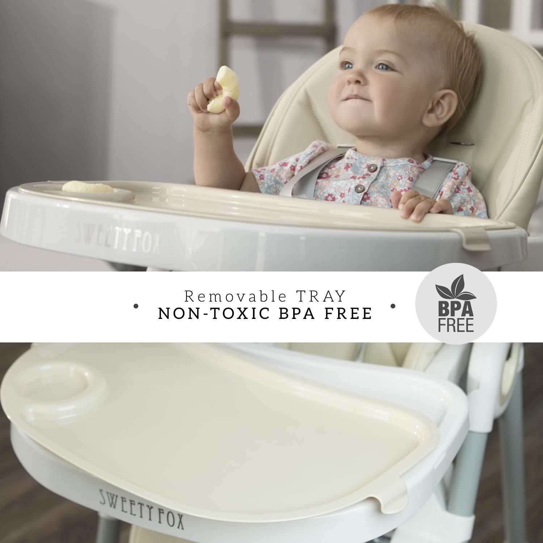 Aufsteckbarer Teller Verstellbar und Klappbar ⭐Mitwachsender Hochstuhl Baby Verstellbare R/ückenlehne Kind 5 Positionen Abnehmbares Tablett Komfort Polster Baby 7 H/öhen einfache Reinigung