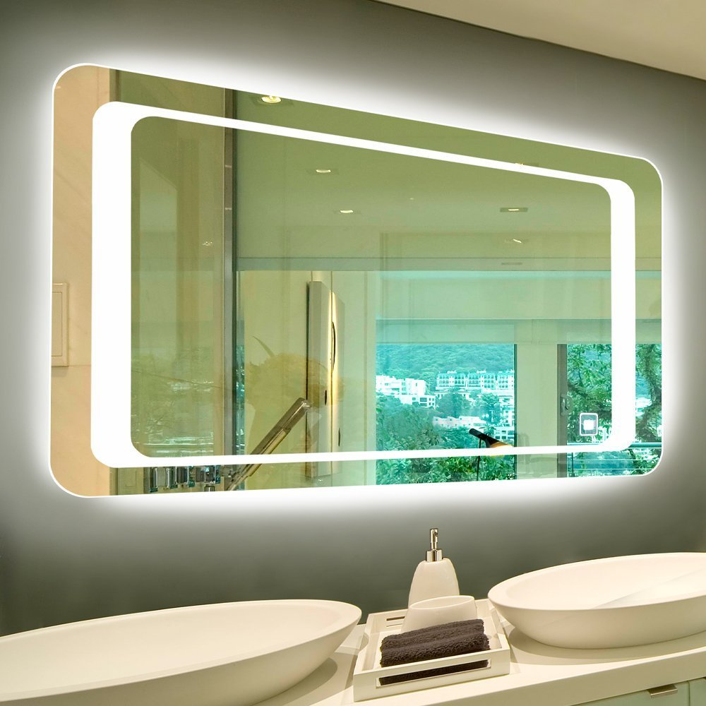 Alice 36''x28'' Dimmable LED Backlit Mirror for Bathroom Makeup Illuminated Vanity Mirror with Touch On/Off Switch and Defogger