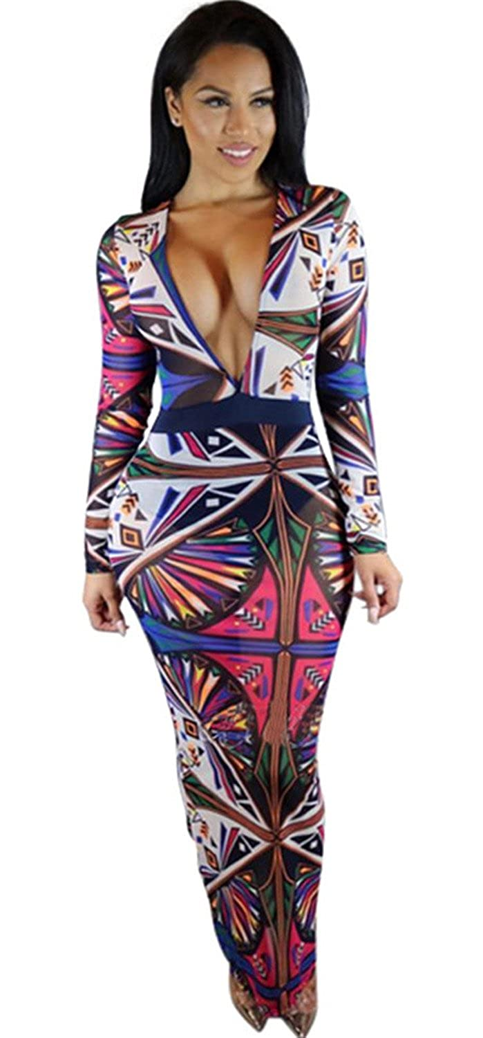 Arctic Cubic Sexy Plunge Deep V Neck Long Sleeve Baroque Ethnic Tribal African Ornate Geometric Long Maxi Bodycon Dress at Amazon Womens Clothing store: