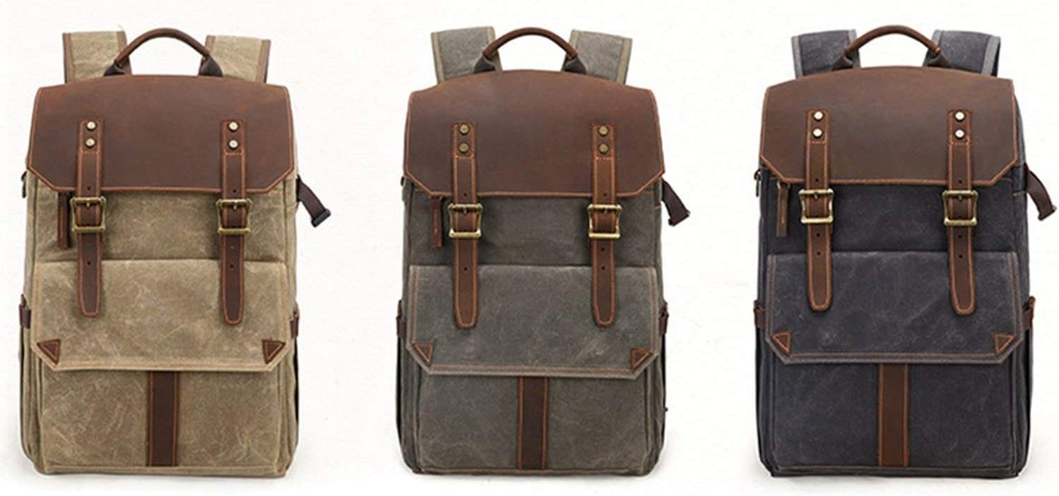 Outdoor Waterproof Photography Dslr Camera Backpack Wax Dye Canvas Video Digital Photo Bag Case,Dark Gray