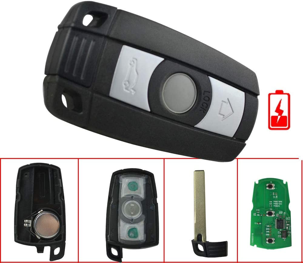 FLYPIG Replacement 3 Button Remote Smart Key Fob Case 315MHZ With ID7944 Chip Fit BMW 1 3 5 6 7 Series BMW X5 BMW X6 BMW Z4 E70 E71 E72 E89 CAS3 System