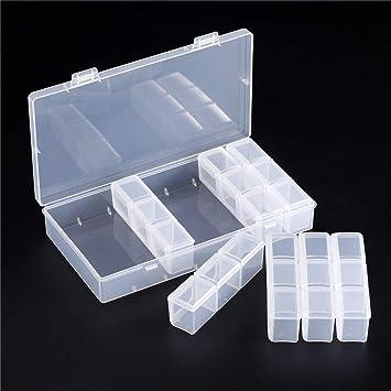 d59d0bf40 Caja de almacenamiento de diamantes de tamaño grande, caja de plástico  ajustable con 21 cuadrículas