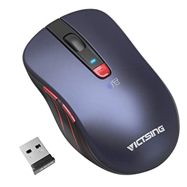 VicTsing Bluetooth Mouse Wireless, Dual Mouse Portable Ergonomic Mobile with Bluetooth 4.0/2.4G Cordless Mouse Up to 2400 DPI for Laptop, PC, Windows Android OS Tablet