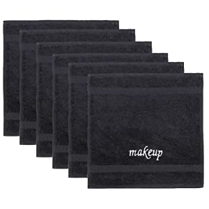 Chakir Turkish Linens Luxury Turkish Cotton Make up Cleansing Washcloths, 13X13 inches (6 Pack, Black)