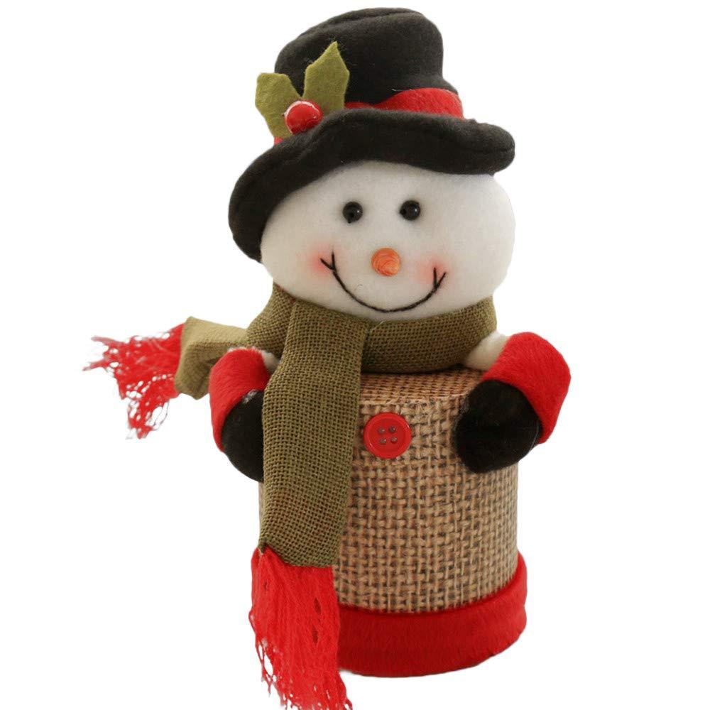 XINDEEK Christmas Storage Basket Cans for Children Santa Claus Elk Candy Packaging Jar Bin(C)