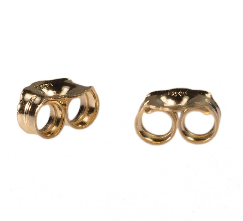 14K Solid Gold Earring Backs Medium 4mm (1 Pair) by uGems
