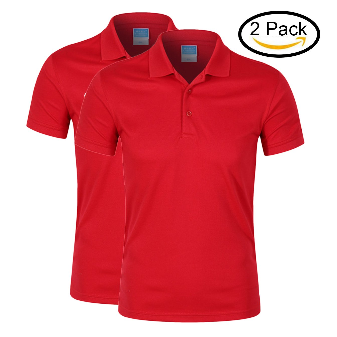 Averywin Women's Golf Polo Shirts Short Sleeve Dry-Fit 3-Button Sports Outdoors Tops T Shirts Pack of 2 (Red (Pack of 2), XL / 42.52'' Bust)