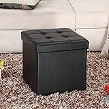 "Ollieroo® Faux Leather Folding Storage Ottoman Bench Foot Rest Stool Seat – Black 15""X15""X15"""