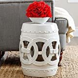 ABBYSON LIVING Moroccan White Ceramic Garden Stool Provides A Lovely Display Spot For Your House Plants