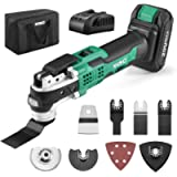 KIMO 20V Cordless Oscillating Multi-Tool, w/2.0Ah Battery&Fast Charger, 21000 RPM Variable Speed & 3° Oscillating Angle…