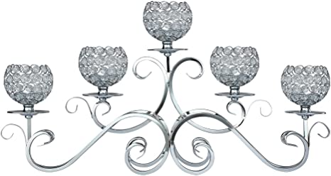 Thaiconsistent 5 Arms Candelabra Home Holiday Decorative Centerpiece Silver Crystal Candle Holders Wedding Birthday Festival Dining Coffee Table Amazon Ca Home Kitchen