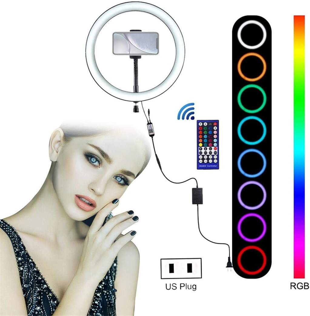 Freeby Ring Light 9 Inch with Phone Stand Cradle Head 8 Light Modes RGB LED Light Video Multifunctional Ring Light