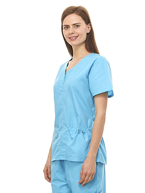 855955fdc5e Amazon.com: Denice Womens Medical Uniforms Mackenzie Zip Neckline Nurses  Scrubs Set 1054 (2X-Large, Turquoise): Clothing
