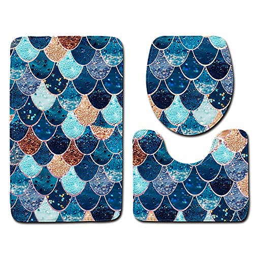 Iusun Toilet Mat, 3PCS Non-Slip Fish Scale Bath Mat Bathroom Kitchen Carpet Doormats Rug Mats For Bathroom Toilet Decor (J)