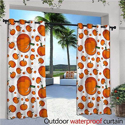 warmfamily Pumpkin Outdoor Privacy Curtain for Pergola Halloween Festival Symbol Thermal Insulated Water Repellent Drape for Balcony W108 x L108 ()