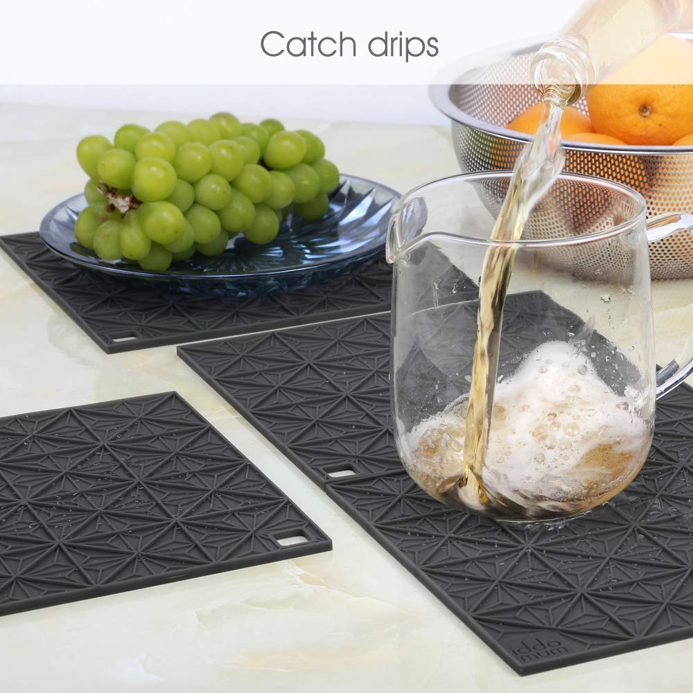 IDDOMUM Hot Pad Trivet for Hot Dishes and Pots, Heat-resistant Pot Holder, Large Drying Mat for Kitchen(4 Pack)