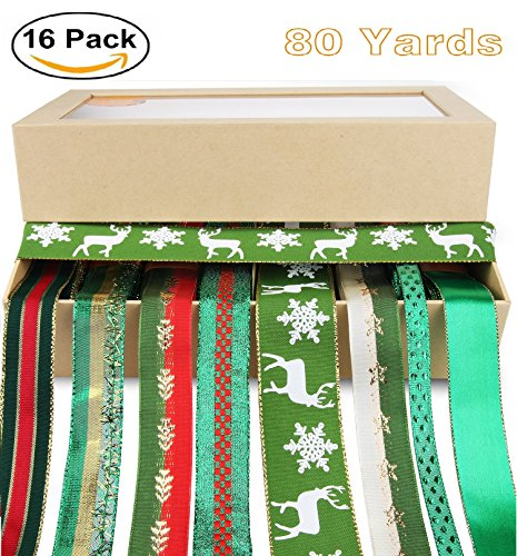Sation Ribbon,Holiday Ribbon Set for Christmas, Holiday,Gift Package Wrapping ,Hair Bow Clips 1-1/2 inch,1 inch 80yd(8x10 Yards), Christmas Tree Costume-Green…