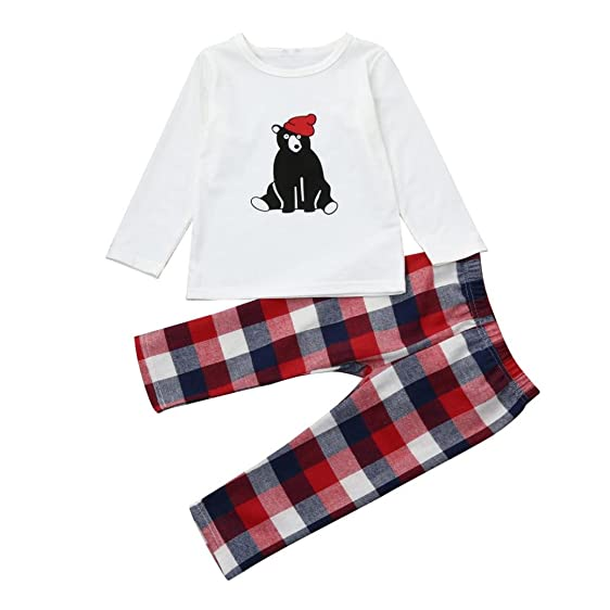 Christmas Baby Kids Boy Girl Bear T-shirt Tops+Plaid Pants Xmas Pajamas Family