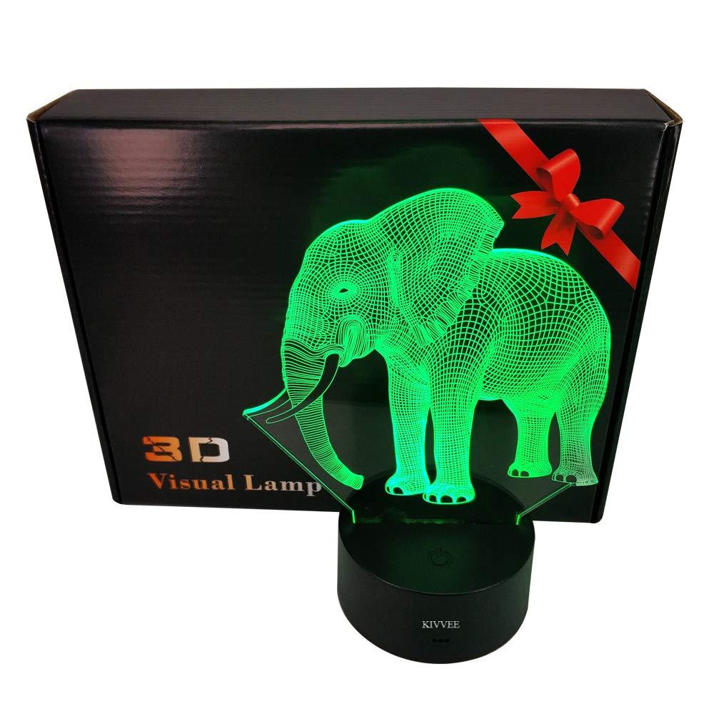 KIVVEE Elephant Visual 3D Lamp Illusion 2D Night Light Xmas Chirstmas Festival Birthday Valentines Day Lovers Gift Nursery Bedroom Desk Table Decor for Baby Boys Kids Children