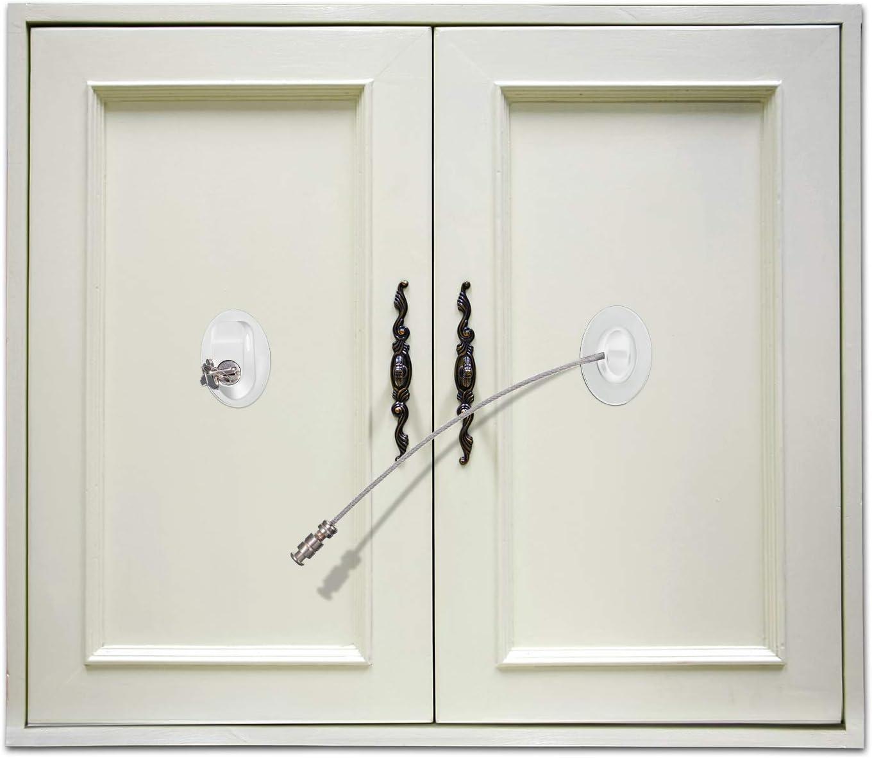 3 Piezas Cerradura de Puerta del Refrigerador Cerradura Adhesiva Fuerte de Puerta de Congelador Cerradura del Cajón de Expediente Cerradura de Armario de Seguridad de Niños con Llaves (Blanco): Amazon.es: Bebé