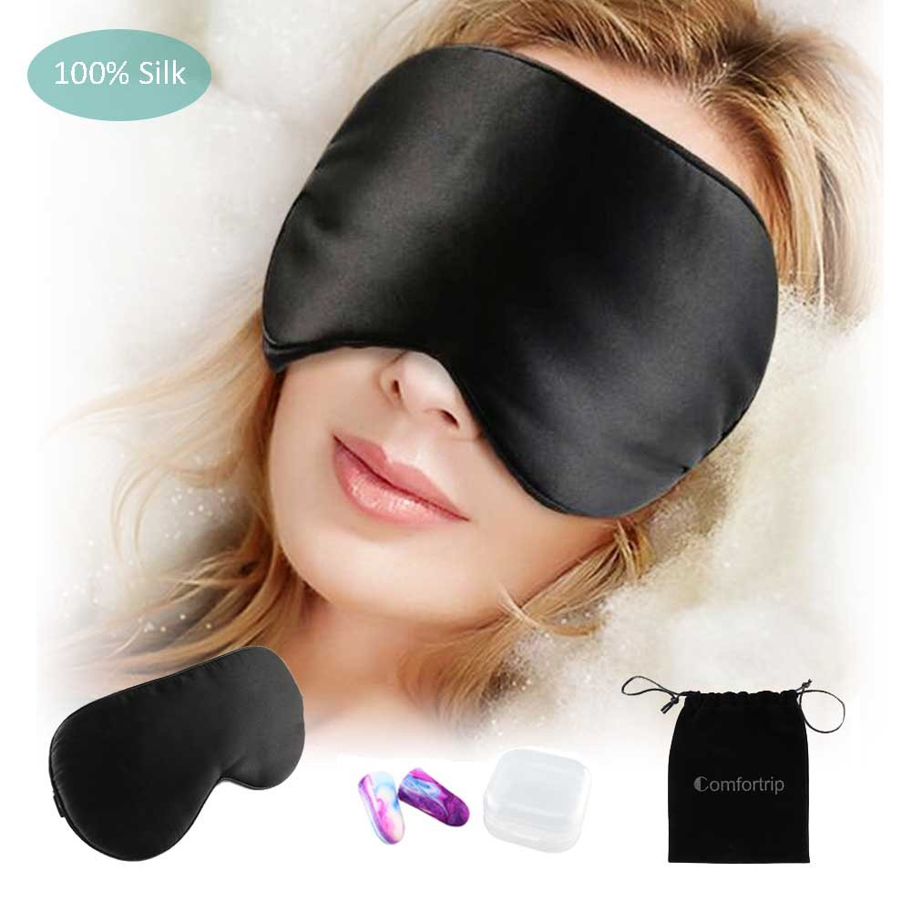 Comfortrip 100% Silk Sleep Mask & Blindfold with Ear Plugs Travel Accessories Eyeshade Eye Cover for Travel Sleeping Mask for Women and Men,Black