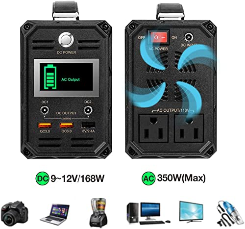 300W Solar Generator, FlashFish 60000mAh Portable Power Station Camping Potable Generator, CPAP Battery Recharged by Solar Panel Wall Outlet Car, 110V AC Out DC 12V QC USB Ports for CPAP Camp Travel