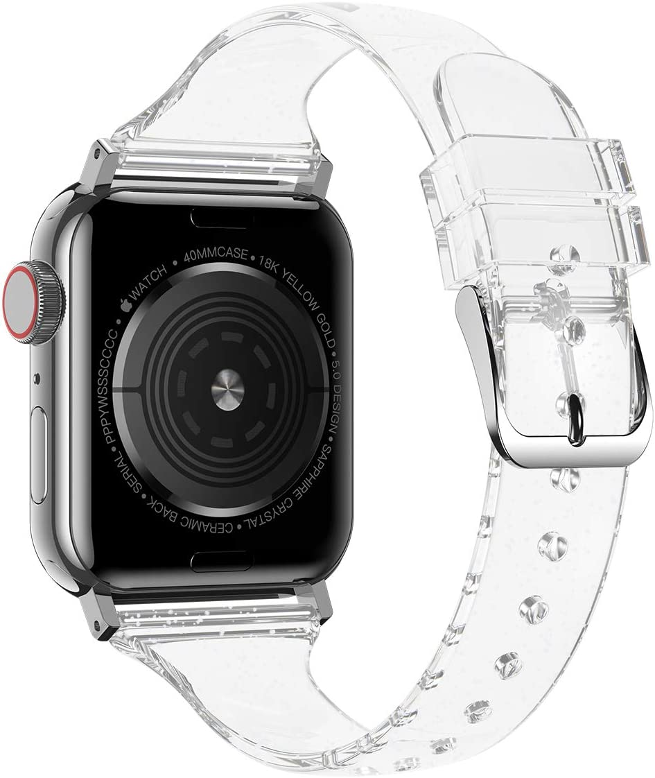 Baozai Compatible with Slim Apple Watch Band 38mm 40mm, Soft Silicone Thin Glitter Sports Band for Apple iWatch Series 5, Series 4, Series 3/2/1 Women (Glistening Silver, 38/40mm)